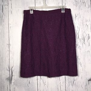 J.Crew Purple Lace Pencil Skirt Sz 10 EUC